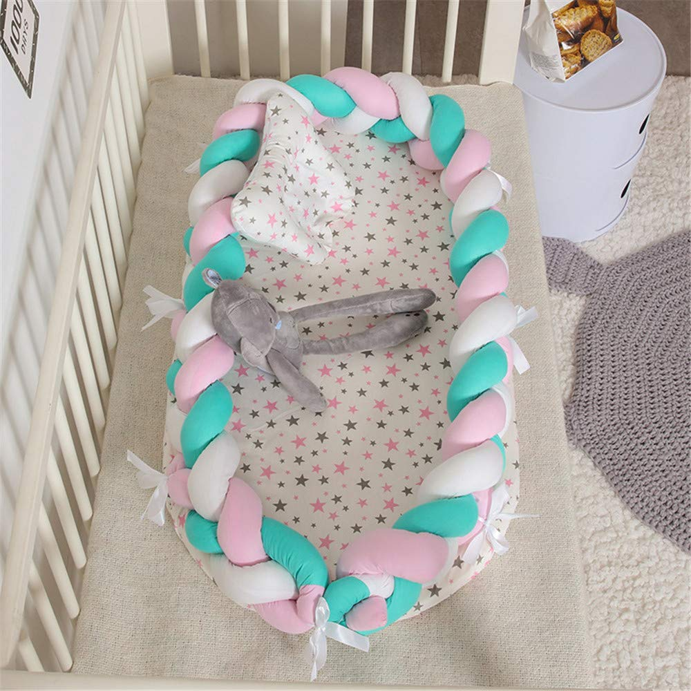 Braided Knot Crib Co-Sleeping Baby Bed Yellow Baby Lounger 100/% Cotton Portable Crib for Bedroom//Travel//Camping 0-24 Month Abreeze Baby Lounger for Newborn