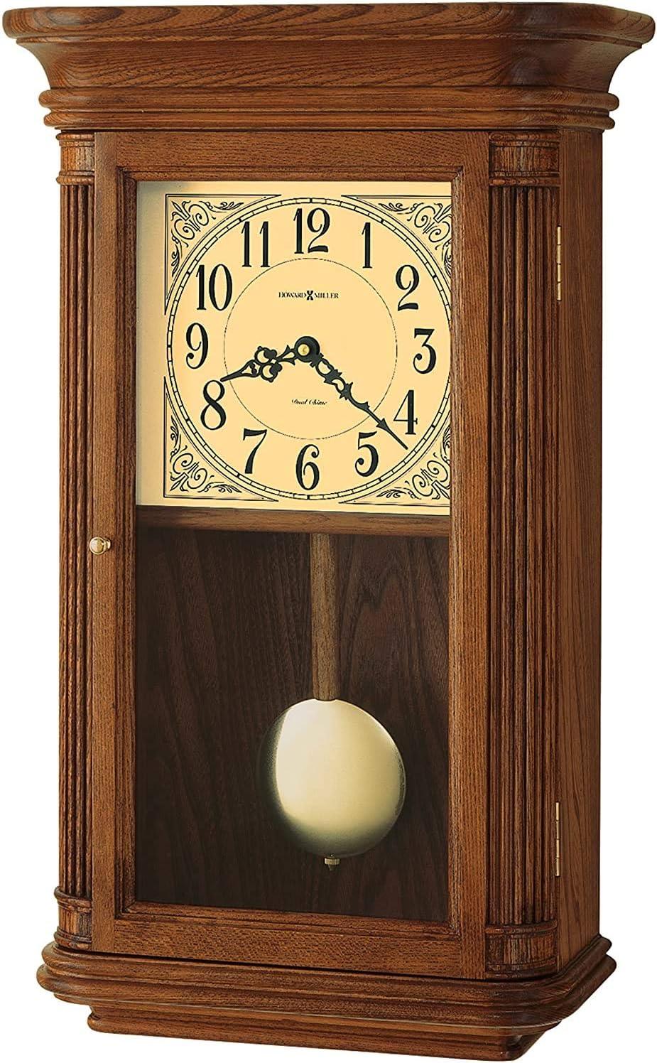 Howard Miller Westbrook Wall Clock 625-281 – Oak Yorkshire Home Decor with Wood Pendulum, Brass Bob with Quartz, Dual-Chime Movement