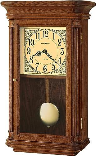 Howard Miller Westbrook Wall Clock 625-281 Oak Yorkshire Home Decor with Wood Pendulum, Brass Bob with Quartz, Dual-Chime Movement