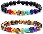 Hamoery Men Women 8mm Lava Rock Beads Bracelet Elastic Natural Stone Chakra Yoga Bracelet Bangle