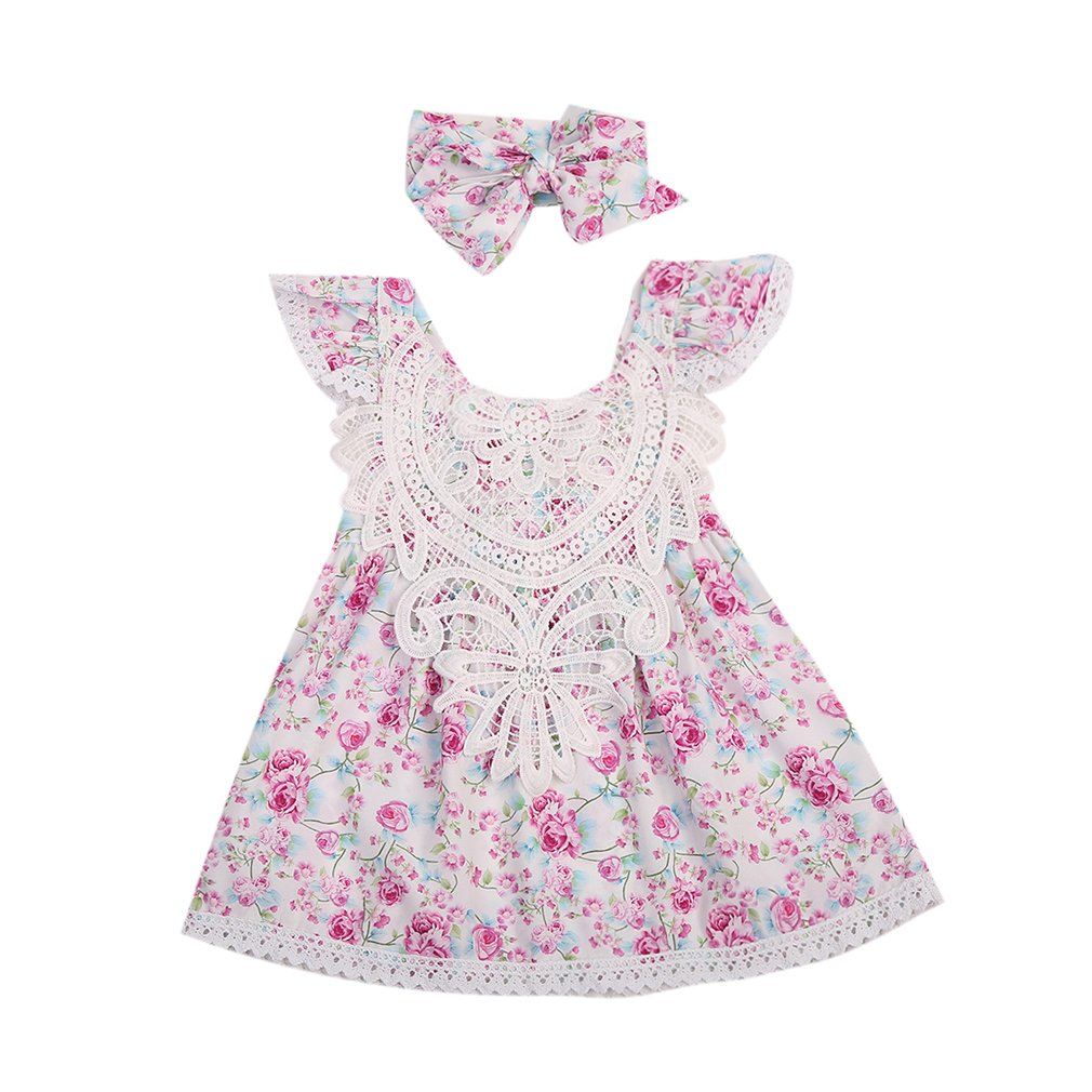 Summer Kids Toddler Baby Girls Ruffles Lace Floral Dress with Headband