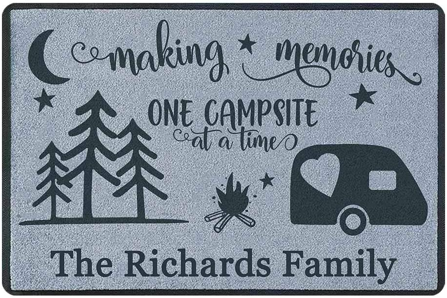 Personalized Outdoor Doormat Home is Where We Park It Entrance Rugs Non Slip Front Door Welcome Mat 23.6 X 15.7 Inches