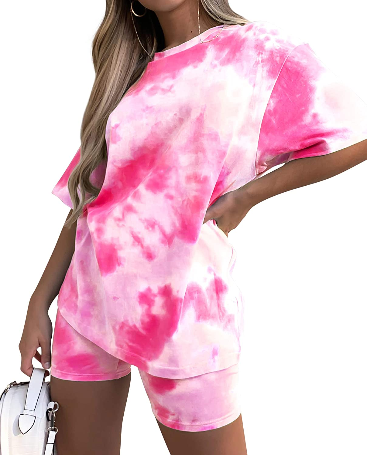 Women's Tie-Dye Set Two-Piece Outfits Summer - Casual Two Piece Short Set Short Sleeve T Shirts at  Women's Clothing store