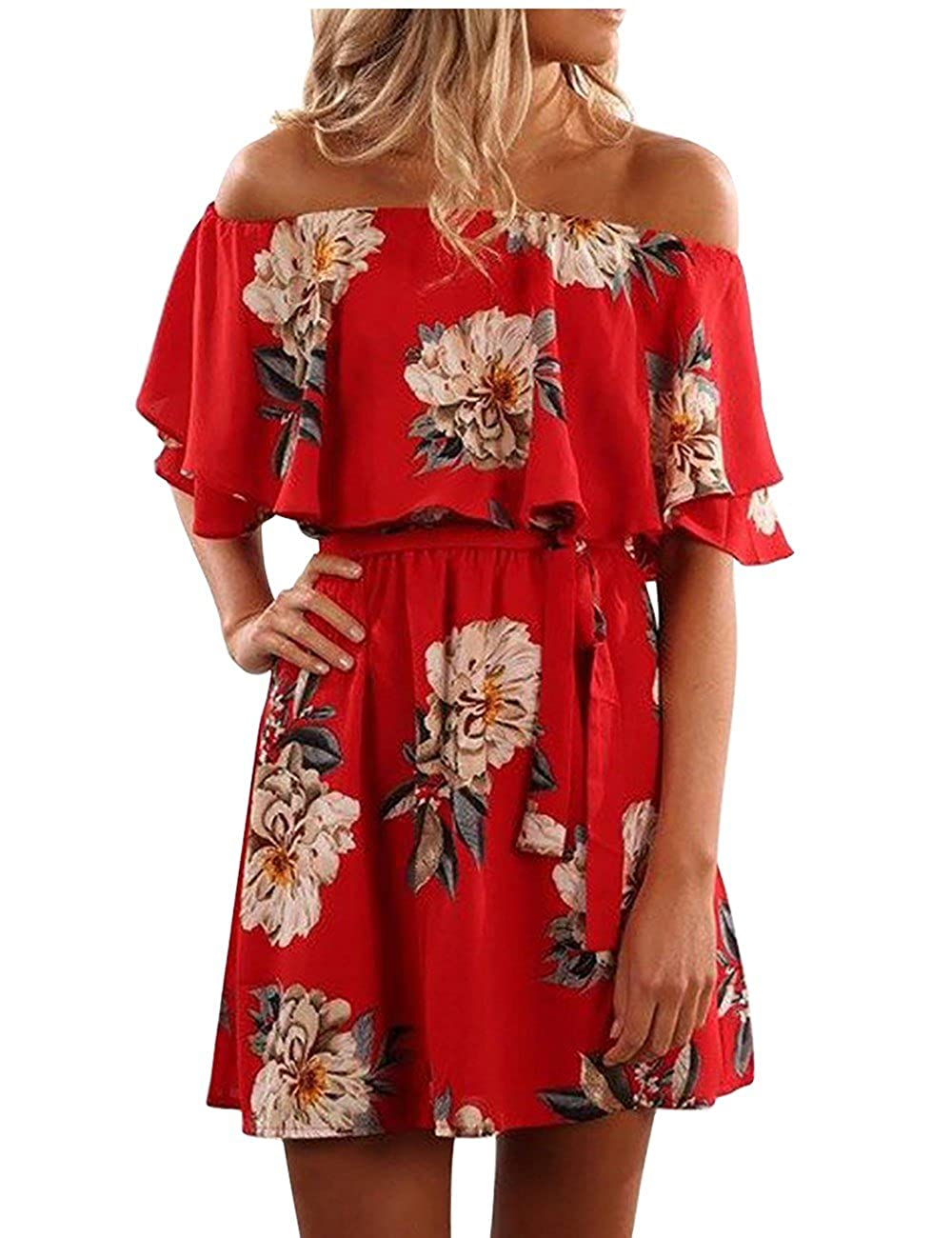 b0c76b1c71 Yobecho Women Summer Off Shoulder Strapless Floral Print Pleated Dresses at  Amazon Women s Clothing store