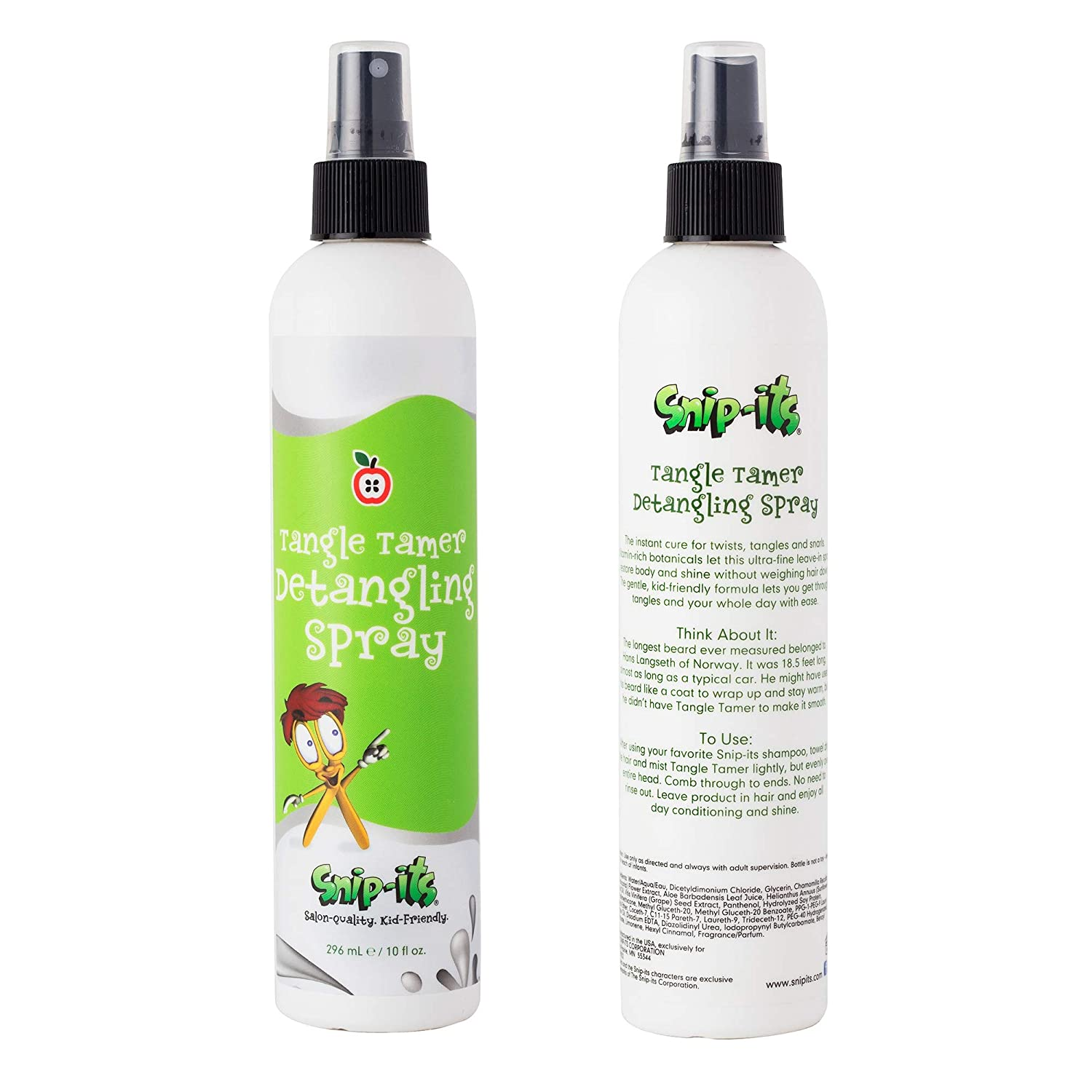 Snip-its Tangle Tamer Detangling Spray 10oz, Gentle Kid Friendly Formula, Vitamin Rich, Made in the USA