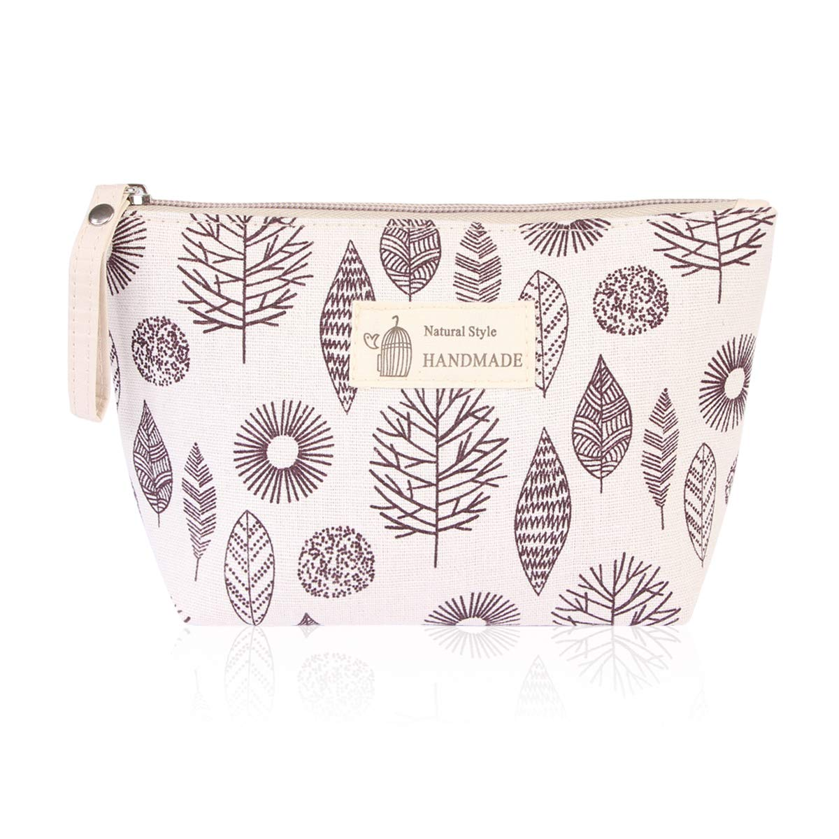 Portable Travel Clutch Cosmetic Makeup Pouch - Toiletry Organizer Purse, Striped Wristlet Floral, Plaid Print Bag (Trapezoid Pouch - Aztec Leaf)