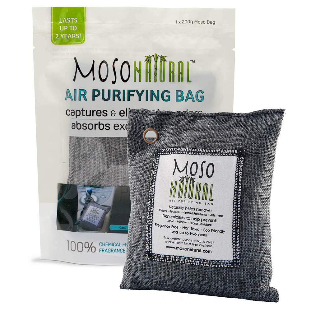 Moso Natural Air Purifying Bag. Bamboo Charcoal Air Freshener, Deodorizer, Odor Eliminator, Odor Absorber For Cars and Closets. 200g Charcoal Color MB2579
