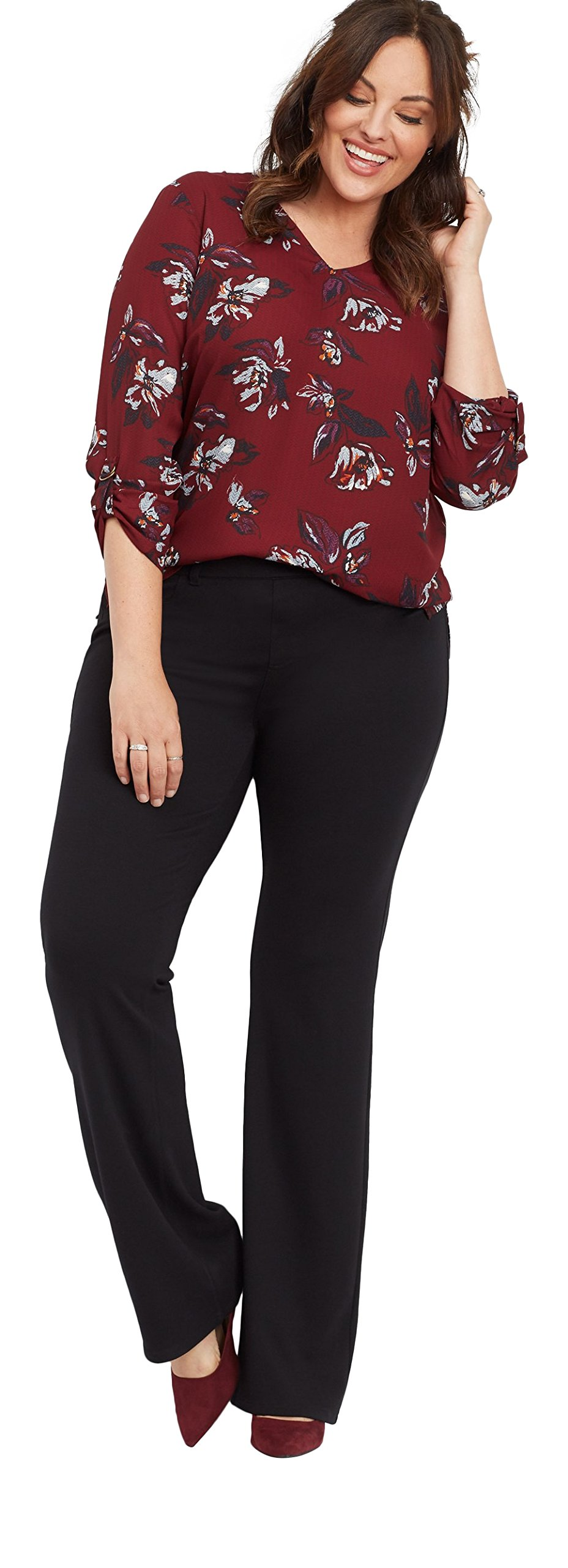maurices Women's Plus Size Pull On Black Ponte Bootcut Pant 16W Active Black