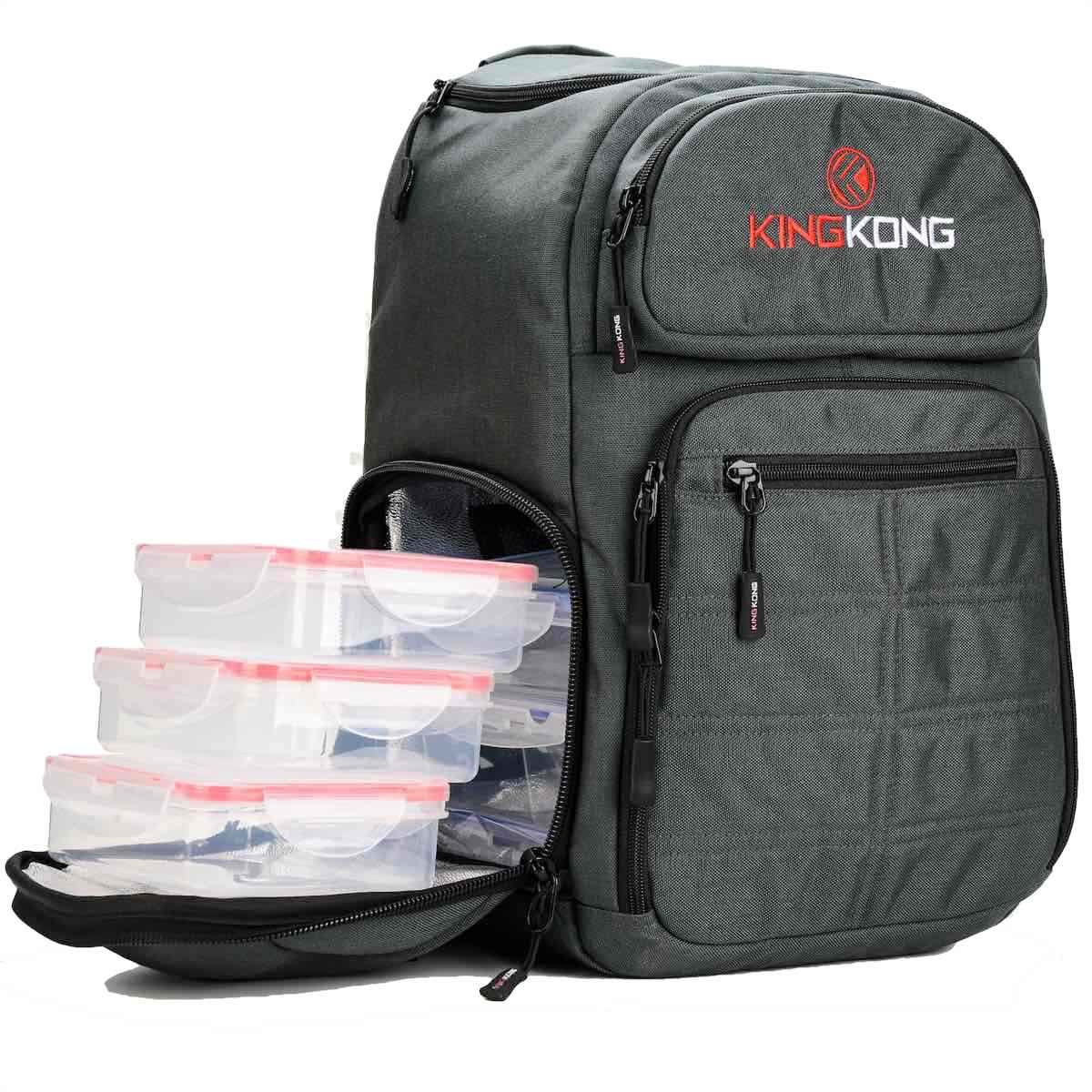 King Kong Fuel Meal Prep Backpack - Insulated Thermal Polyester Lunch Bag, Military Spec Nylon with Two Reusable Ice Packs - Charcoal