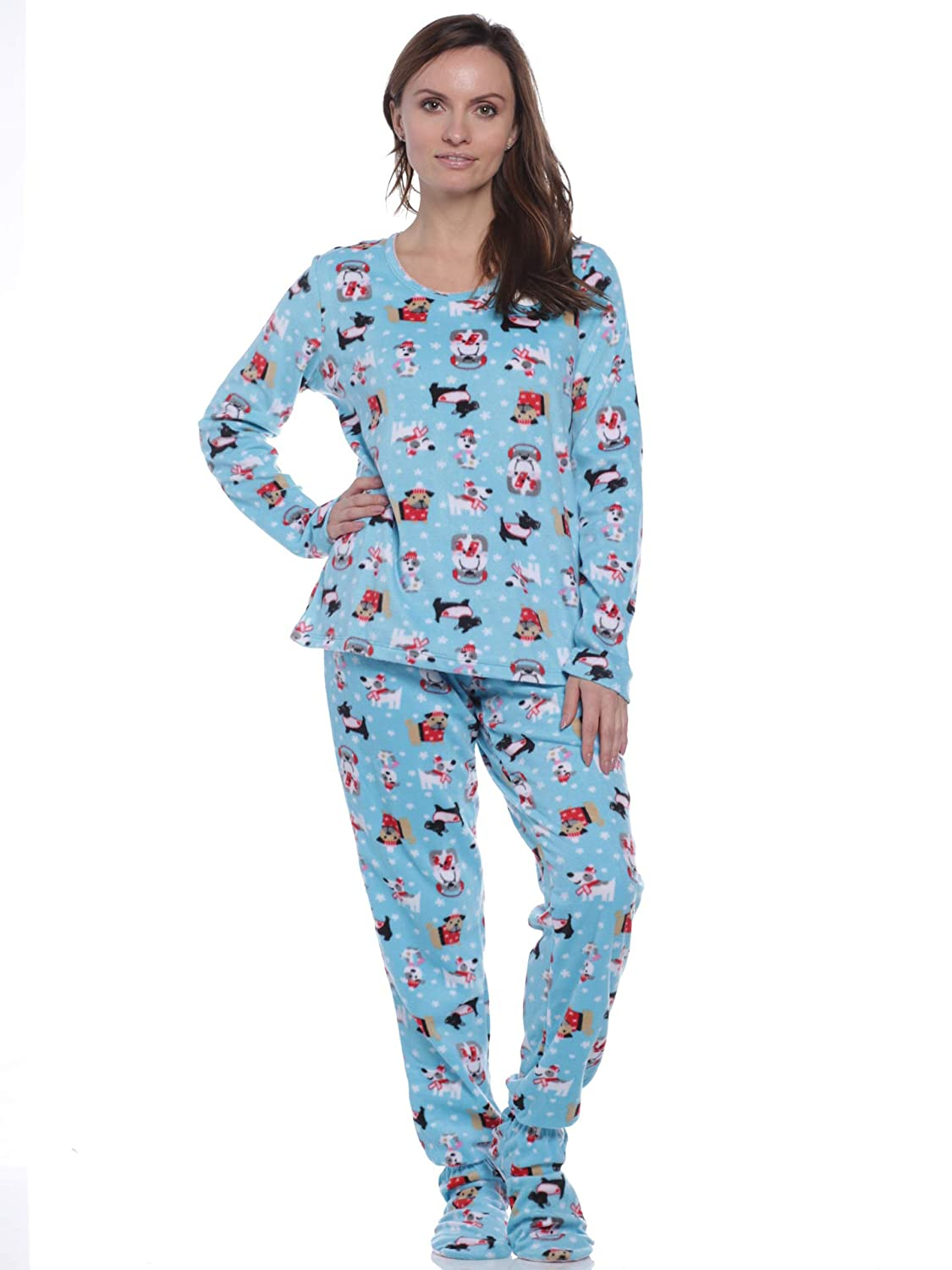 3076f670a Womens Two Piece Footed Pajamas