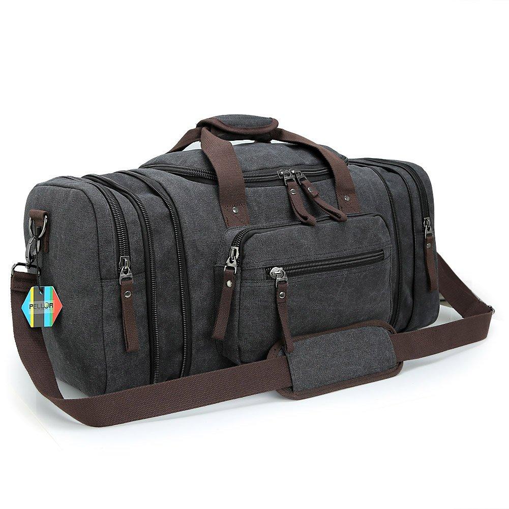 Pellor Large Canvas Travel Duffle Bag Holdall Messenger Shoulder Bag Weekend Satchel Totes Bag Handbags Black)