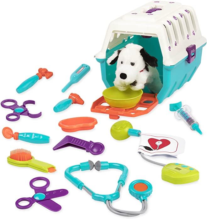 Battat - Dalmatian Vet Kit - Interactive Vet Clinic and Cage Pretend Play for Kids (15 pieces)