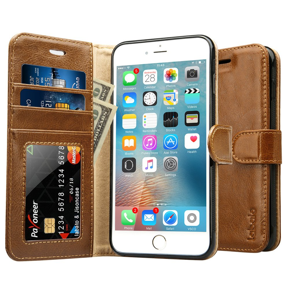 iPhone 6S Plus Wallet Case, Labato Genuine Leather Folio Flip Case Cover Magnetic Stand Function with Card Slots/Cash Compartment for Apple iPhone 6 Plus/ 6S Plus 5.5''- Brown (lbt-I6U-05Z20) by Labato (Image #4)