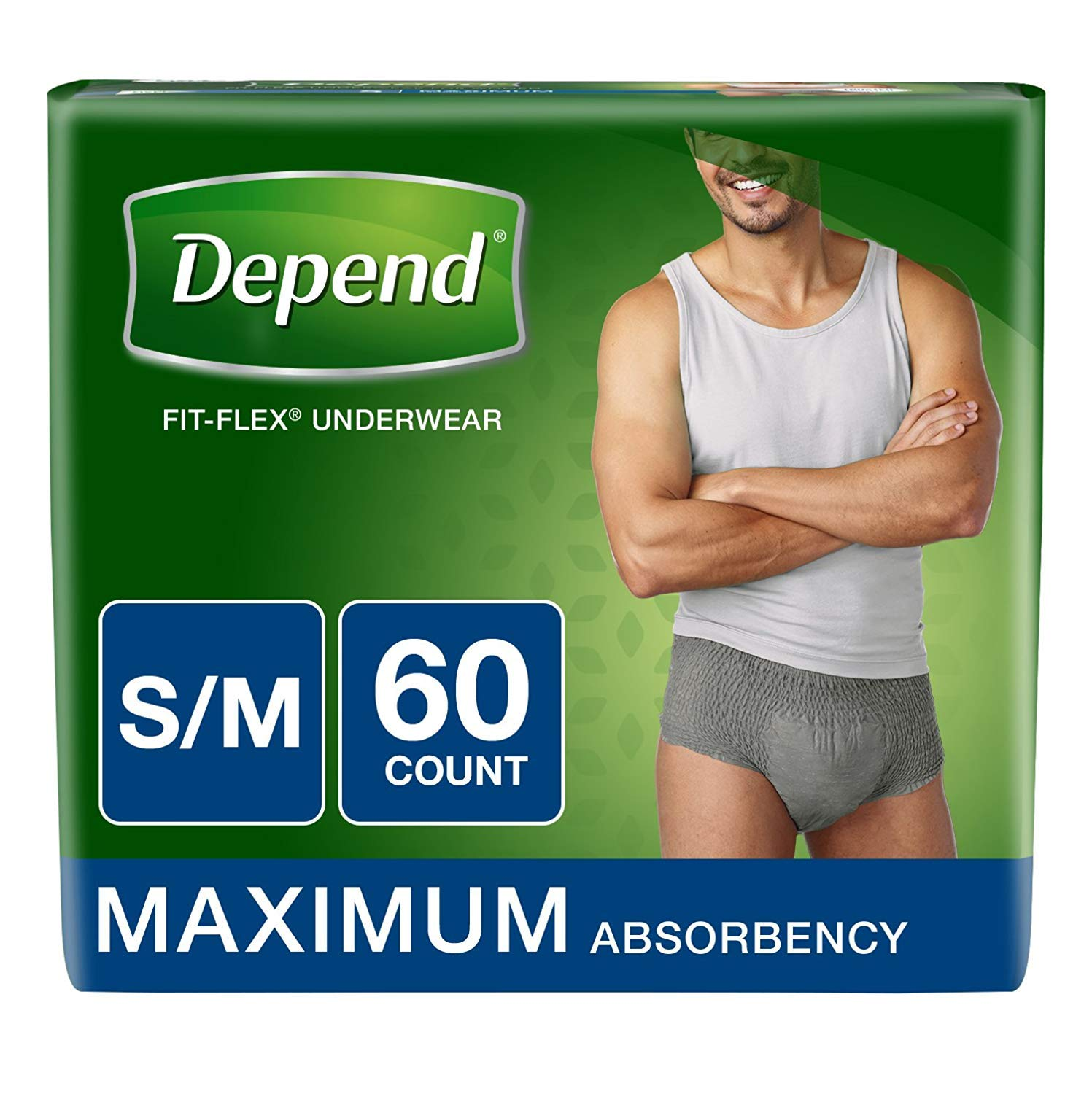 Depend FIT-Flex Incontinence Underwear for Men, Maximum Absorbency, S/M, Gray, 60 Count (3-Pack(60 Count))
