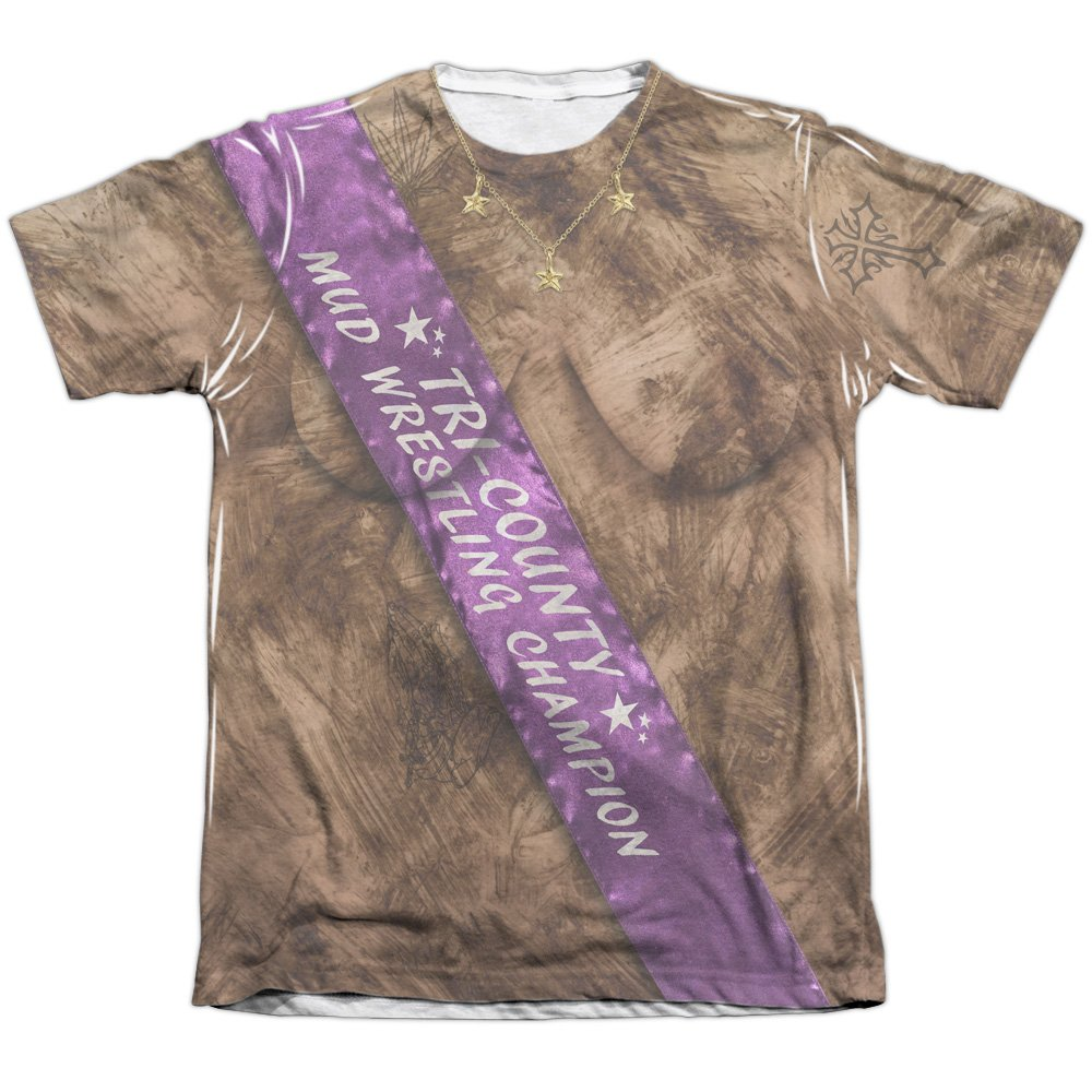 Mud Wrestling Champ Unisex Adult Front Only Poly/Cotton Sublimated T Shirt for Men and Women