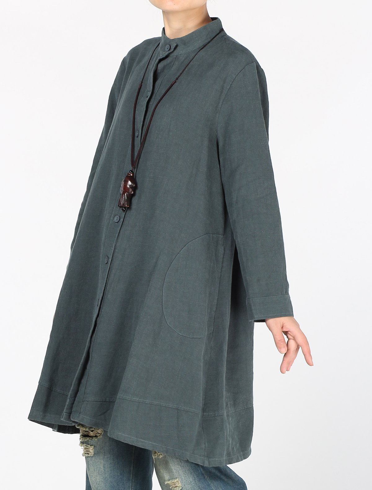 Mordenmiss Women's Cotton Linen Full Front Buttons Jacket Outfit with Pockets Style 1 L Dark Green by Mordenmiss (Image #4)