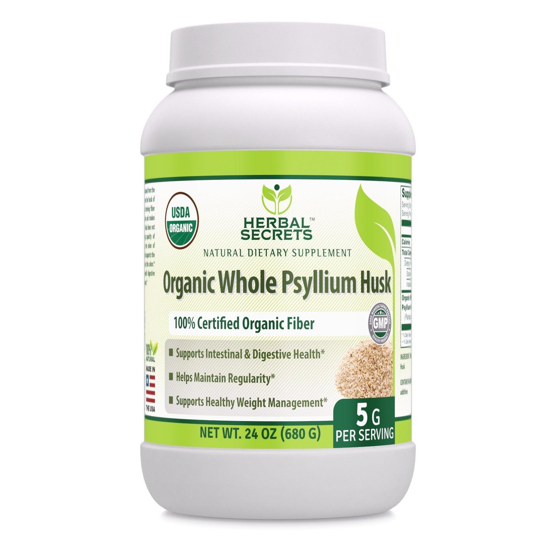 Herbal Secrets USDA Certified Organic Whole Psyllium Husk 5 Grams 24 Oz - Raw Vegan NON-GMO Kosher
