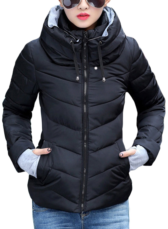 Sandbank Women's Winter Parka Jacket Warm Stand Collar Cotton Quilted Down Coat Black US 8-10