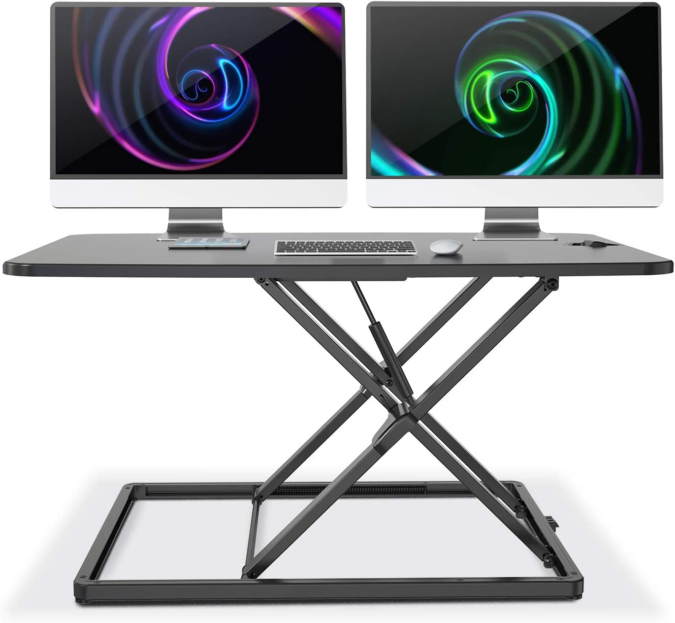 """LENTION Height Adjustable 31"""" Standing Desk for Home & Office, Ergonomic Sit to Stand Portable Workstation with 31'' Compact Table-Top, Stand up Computer Riser Converter fit 1 Laptop + 1 Monitor"""