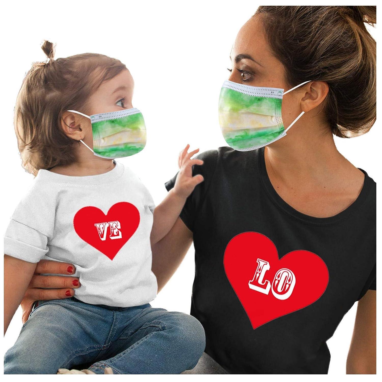 Serria-es 50 Piezas Adulto+50 Piezas Niño Mäscarilla antivirus de Una Sola Vez Verde Impresión 3 Capas Protección