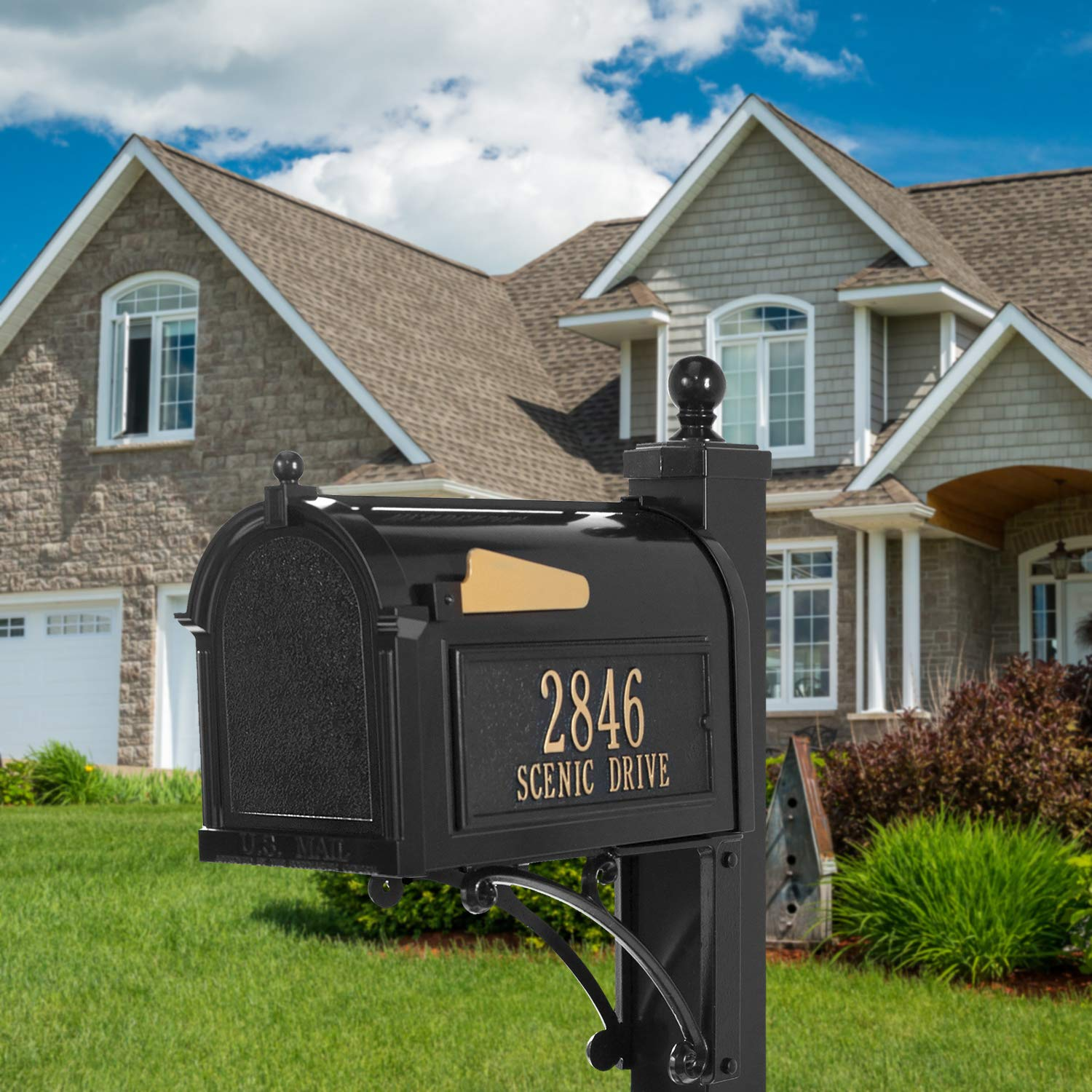Whitehall Products Deluxe Mailbox Package - Black by Whitehall (Image #3)