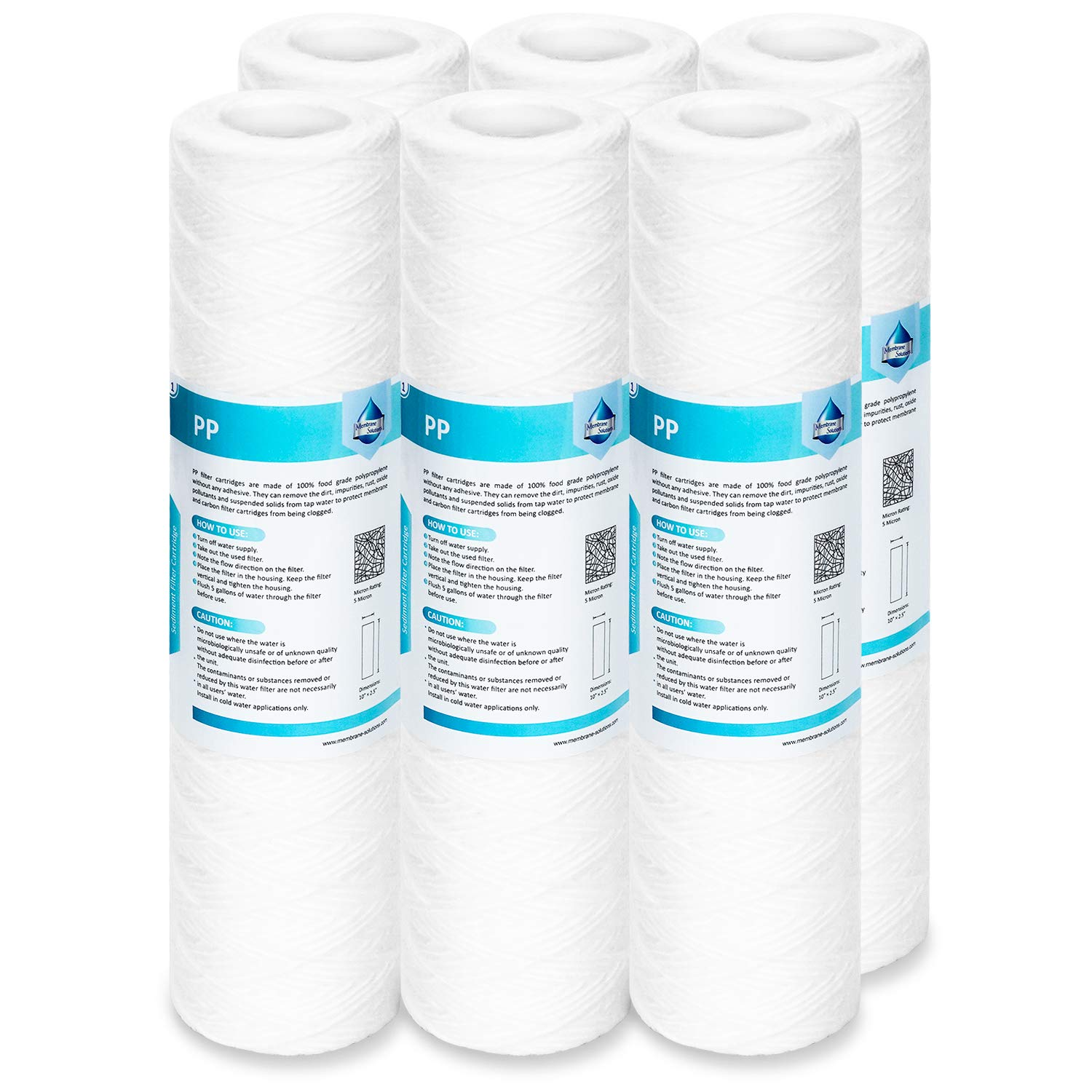 "Membrane Solutions 20 Micron String Wound Water Filter Universal Whole House Replacement Cartridge Sediment Filters for Well Water 10""x2.5"" - 6 Pack"