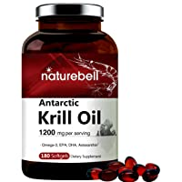 Triple Strength Antarctic Krill Oil Supplement, 1200mg Per Serving, 180 Softgels, Source of Natural Omega 3, EPA, DHA and Astaxanthin, No GMOs