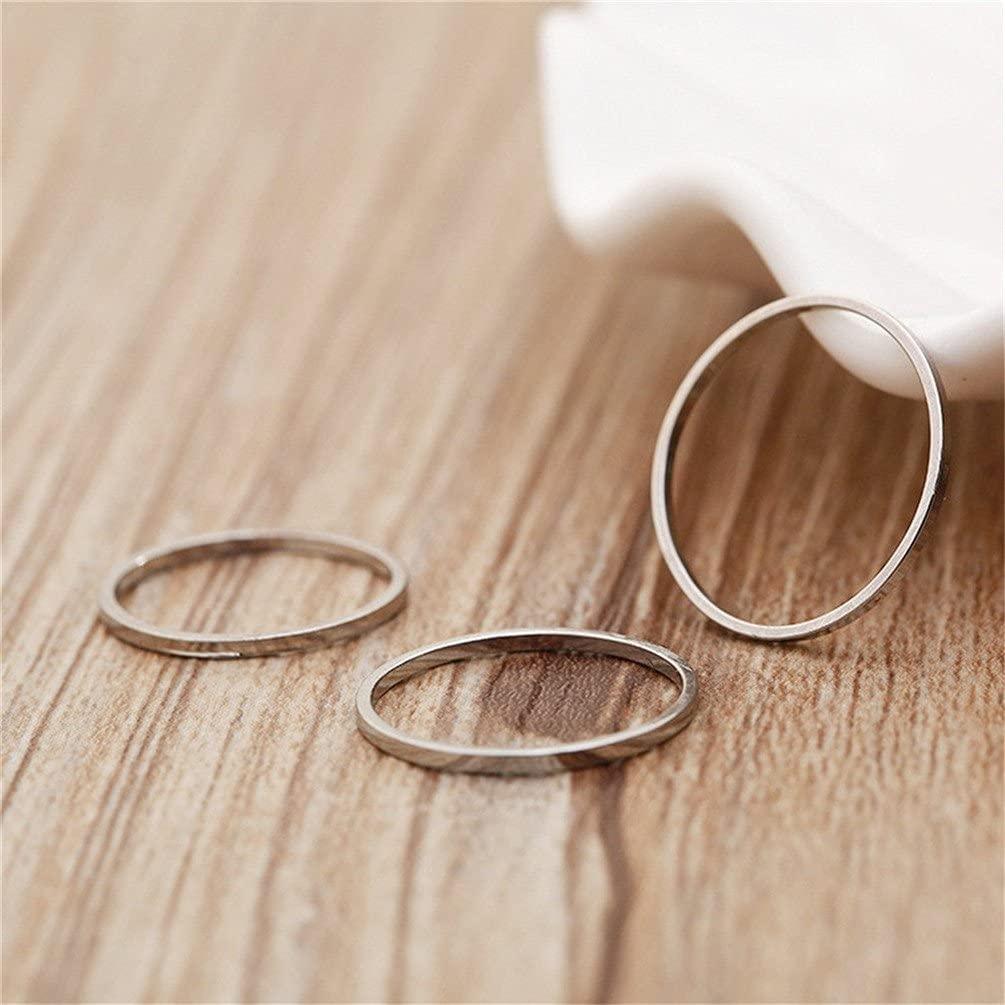 INRENG 1-3pcs Womens Stainless Steel 1MM Thin Midi Knuckle Stacking Rings Plain Wedding Band Comfort Fit Size 3 to 10