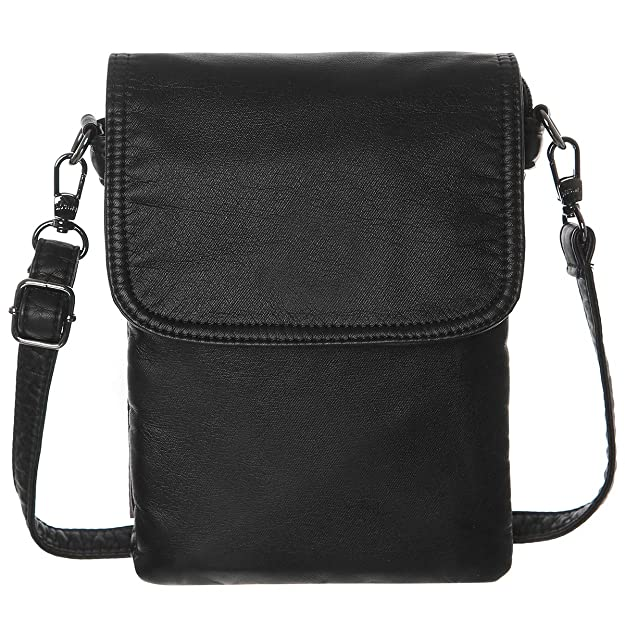 AOCINA Mini Crossbody Cellphone Purse Credit Card Slots Small Crossbody Bag for Women(Black)