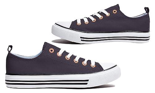 ea0ab8a5601ca Jack Avenue Women s Canvas Shoes Classic Low Top Sneaker Fashion Basketball  Tennis Athletic Cap Toe (