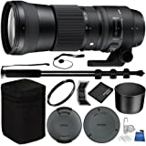 Sigma 150-600mm f/5-6.3 DG OS HSM Contemporary Lens for Nikon F & Sigma USB Dock for Nikon F-Mount Bundle with Manufacturer Accessories & Accessory Kit
