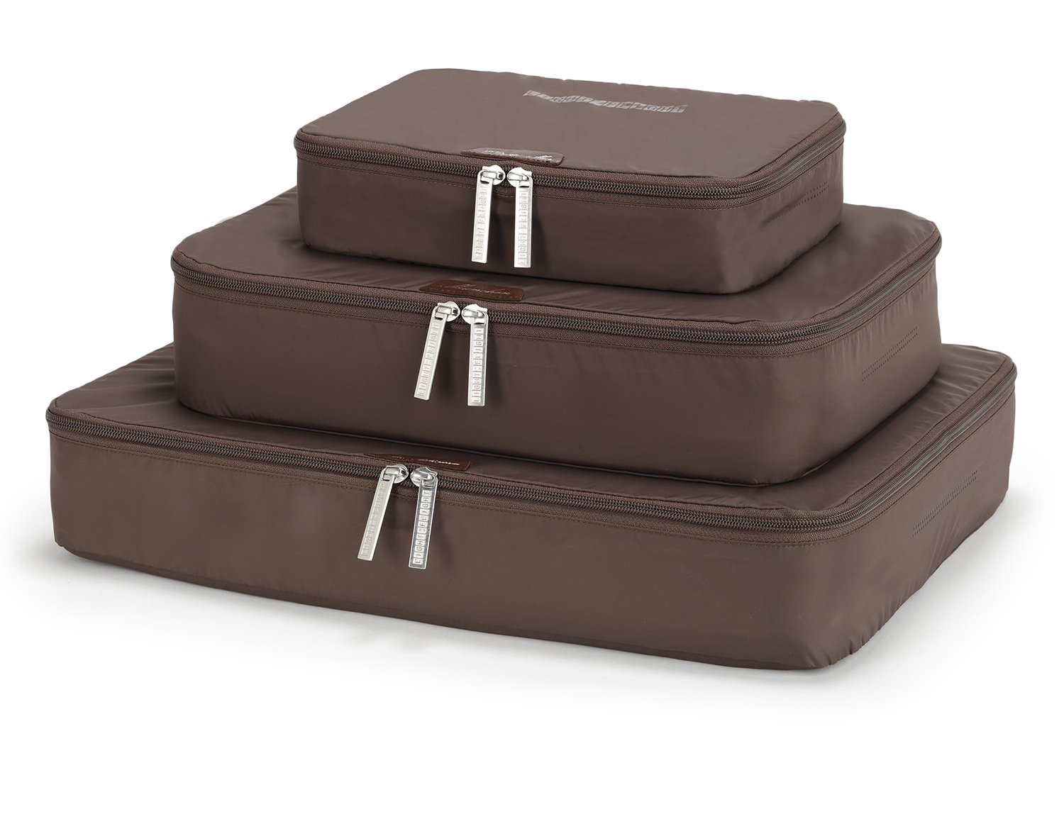 LIGHT FLIGHT 3 Set Travel Packing Cubes (Small-Large) for Carry-on Travel Accessories, Suitcase and Backpacking, Brown