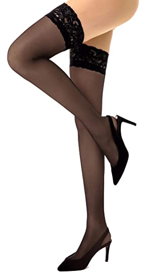 58421a56b6279 Image Unavailable. Image not available for. Color: Thigh High Stockings  Silicone Lace Top Stay Up Silky Semi Sheer Pantyhose ...