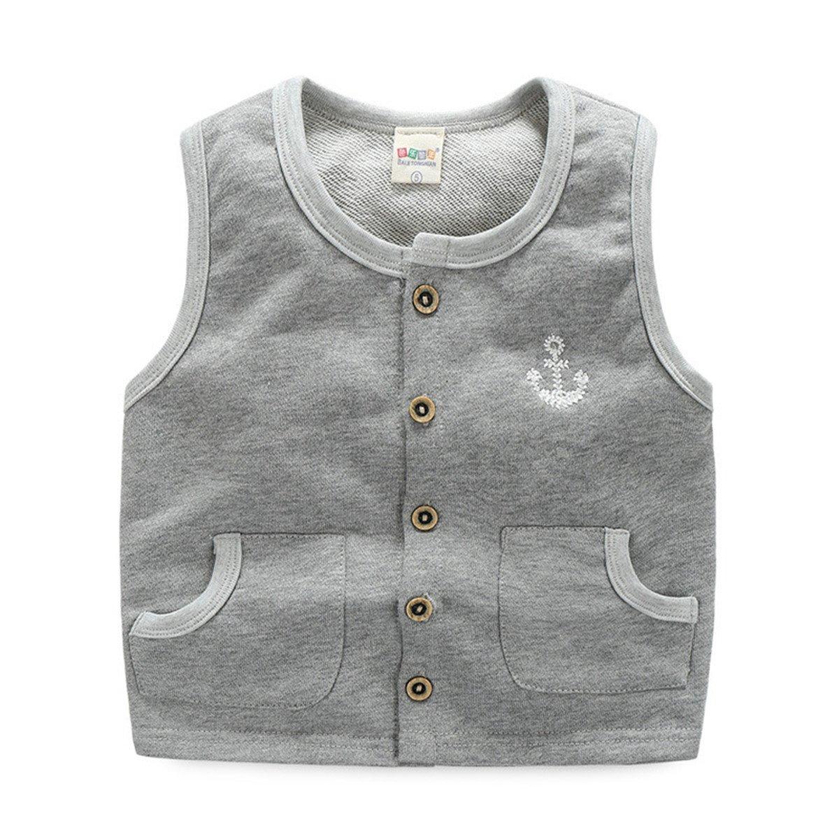 Toddler Unisex Infant Kid Boys Girls Anchor Button Winter Fleece Vest Waistcoat bhnvytvo61