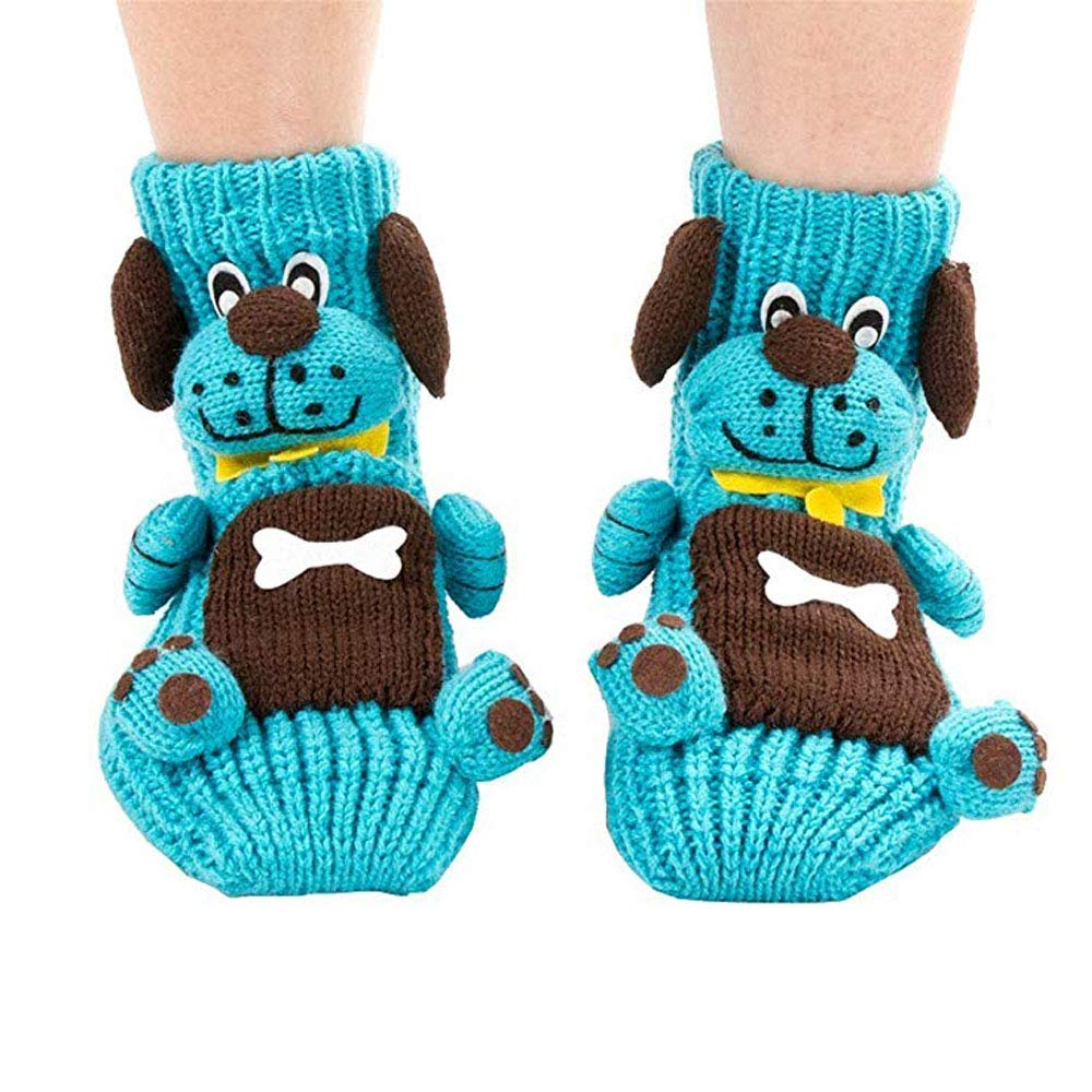 Black Friday Deals Cyber Monday Deals-Christmas Socks 3D Animal Non-Slip Household Floor Socks Winter Slipper for Women Christmas Tree Decor Christmas Stockings Best Gifts for Kids (Cute Dog) easygogo