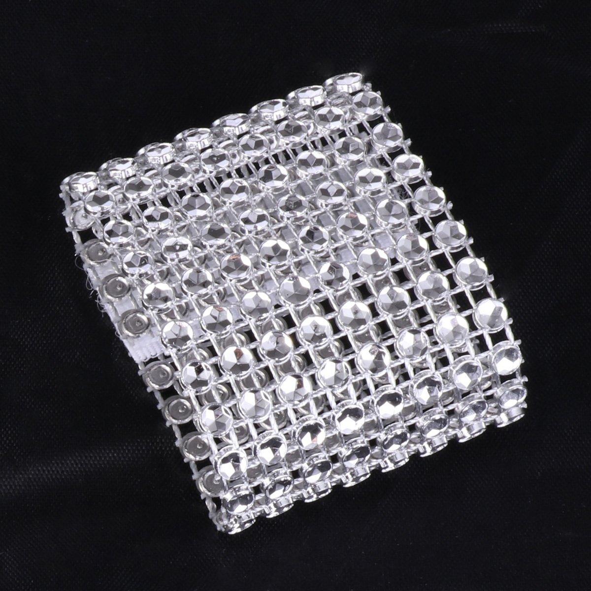Freebily 10//30pcs Silver//Gold Bling Rhinestone Napkin Ring for Wedding Party Gold 10PCS
