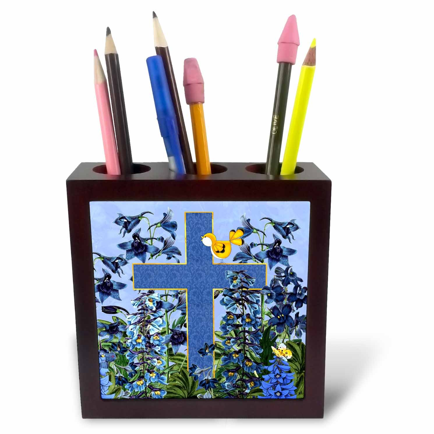 3dRose Doreen Erhardt Inspirational - Larkspur Garden with Yellow Canary and Christian Cross - 5 inch tile pen holder (ph_266787_1)