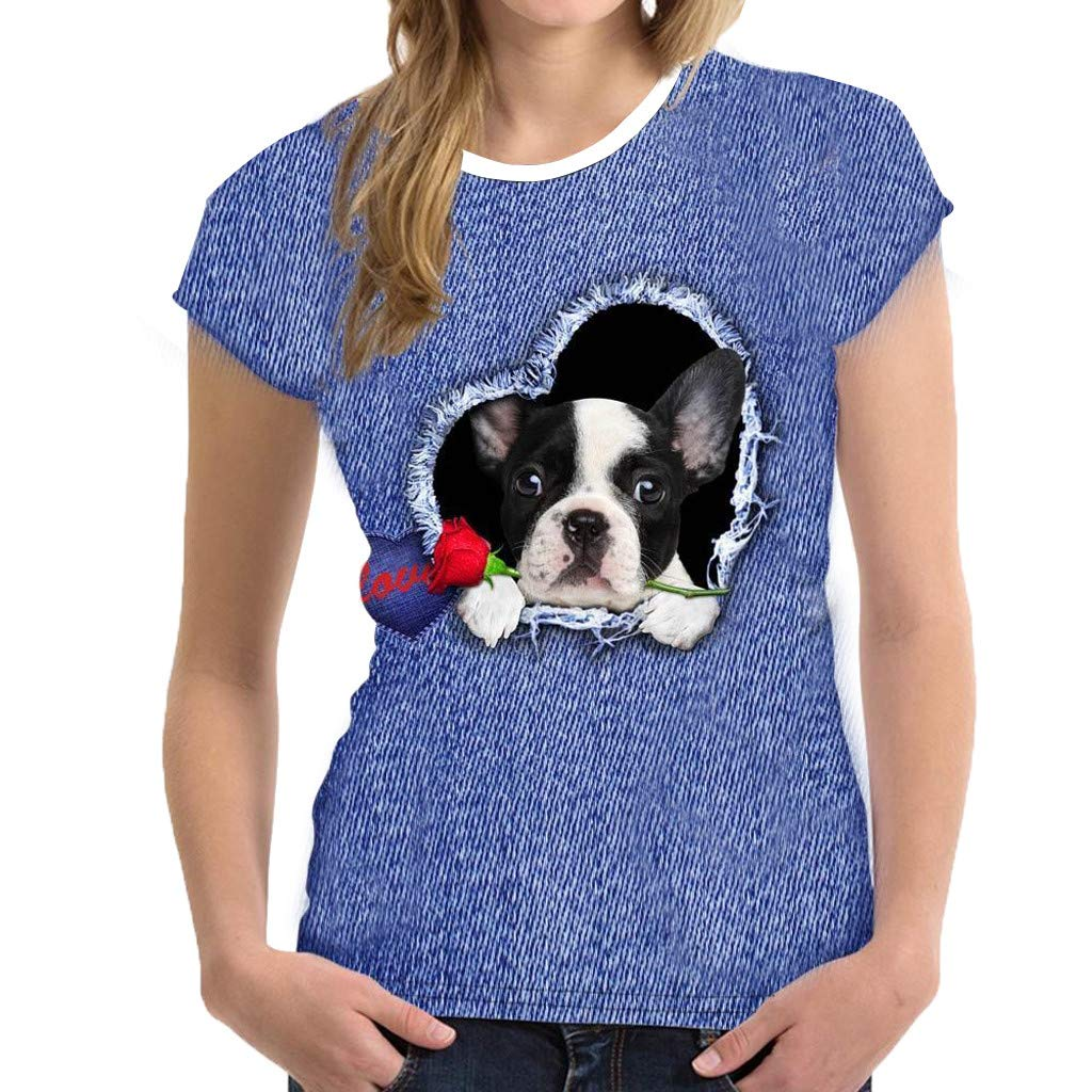 ZOMUSAR Women Funny 3D Print Animal Summer Short Sleeve T-Shirts Top Blouses Blue