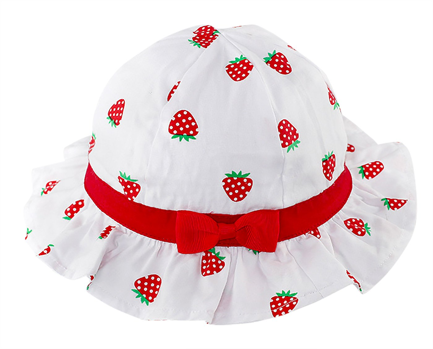 Kid Baby Girl Sun Bucket Hat Cap with Chin Strap Toddler Strawberries Ruffle Hat RUHI