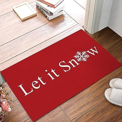 Amazon.com: Favlelre Let It Snow Snowflakes Winter Holiday Welcome Mats Doormats Non Slip Indoor/Outdoor/Front Door/Bathroom Entrance Rugs Carpet(Red): Home ...