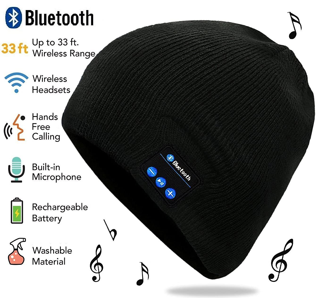 LifeMadeSimple Beanie Hat with Bluetooth Headphones, One Size Fits All, Black