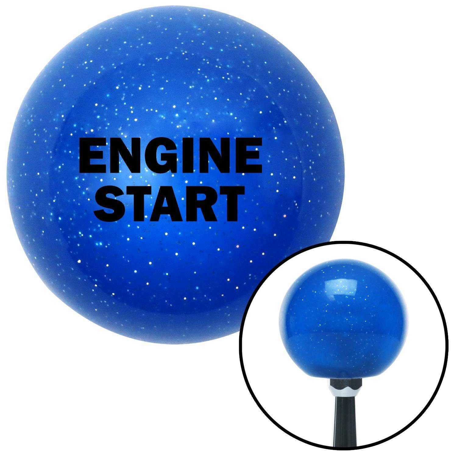 American Shifter 21021 Blue Metal Flake Shift Knob with 16mm x 1.5 Insert Black Engine Start