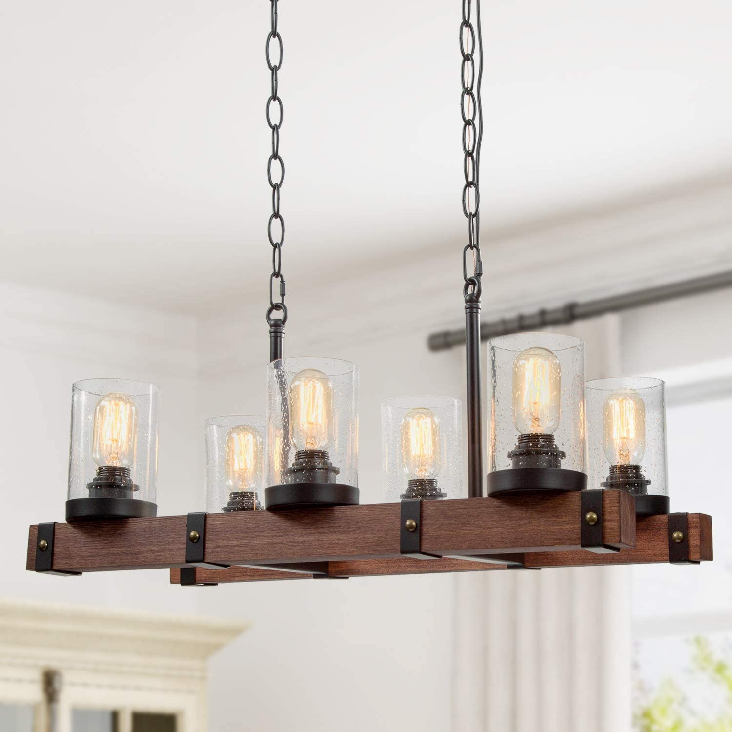 Ruziniu Farmhouse Chandelier For Dining Rooms 6 Lights Kitchen Island Lighting Rectangle Wood Chandelier With Seeded Glass Shade Amazon Com