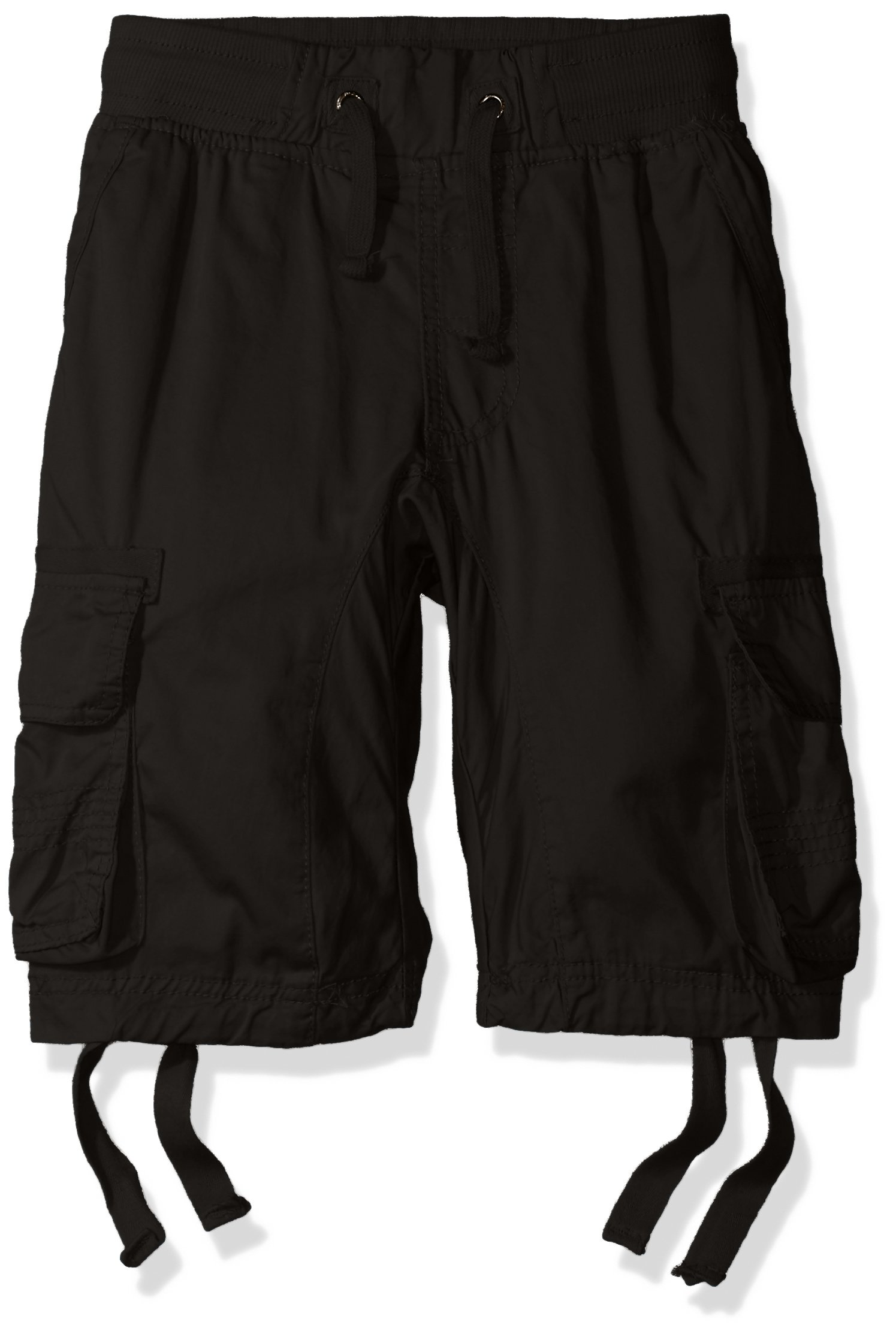 Southpole Big Boys' Jogger Shorts with Cargo Pockets in Basic Solid Colors, Black (New), Large