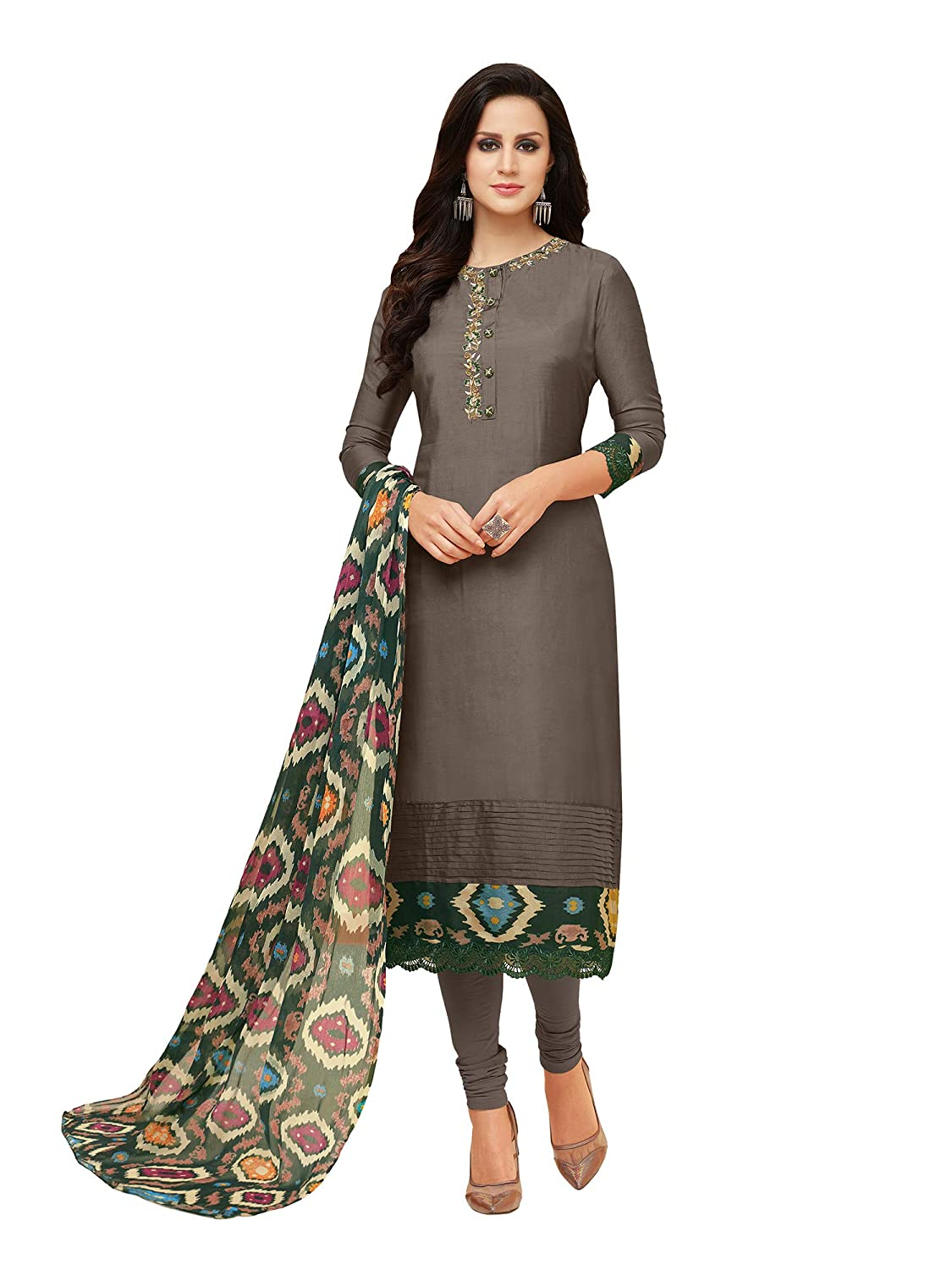 86ae1a9a3c AKHILAM Women's Embroidered Chanderi Cotton Chudidar Style Semi Stitched  Salwar Suit Dress Material with Chiffon Dupatta (Grey_25DMK1021): Amazon.in:  ...