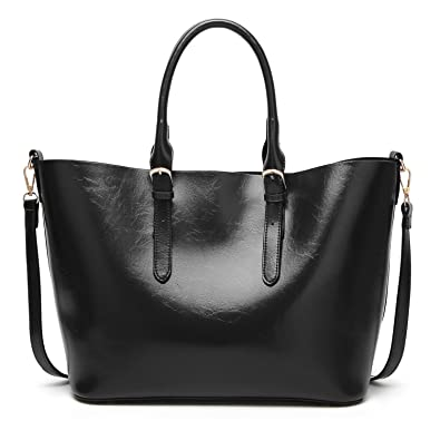 Amazon.com  Juilletru Black Fashion Bags Womens PU Leather Handbags  Designer Top Handle Satchel Handbag Tote Bag  Shoes 092a7e71c614d
