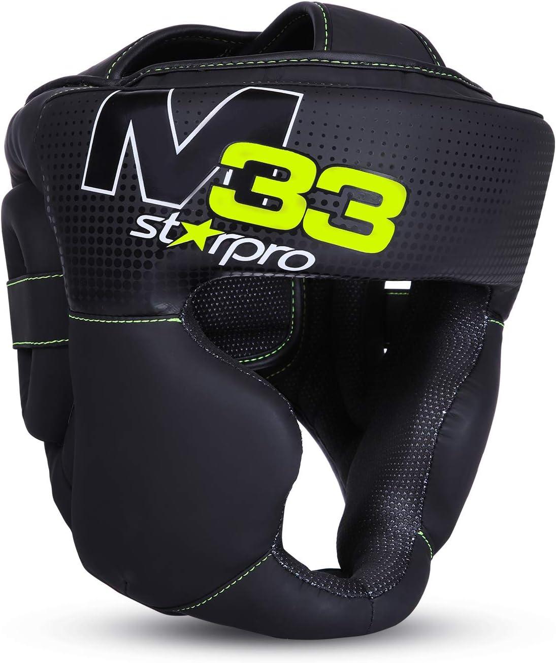 Starpro M33 Casco Boxeo | Cuero sintético Mate | Negro y Verde | Protección para la Cabeza y Las mejillas para Sparring en Boxeo Muay Thai Kickboxing Fighting & Training | Hombres y Mujeres