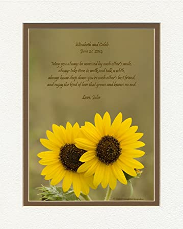 personalized wedding gift for couple or personalized anniversary gift for couple sunflowers photo with special