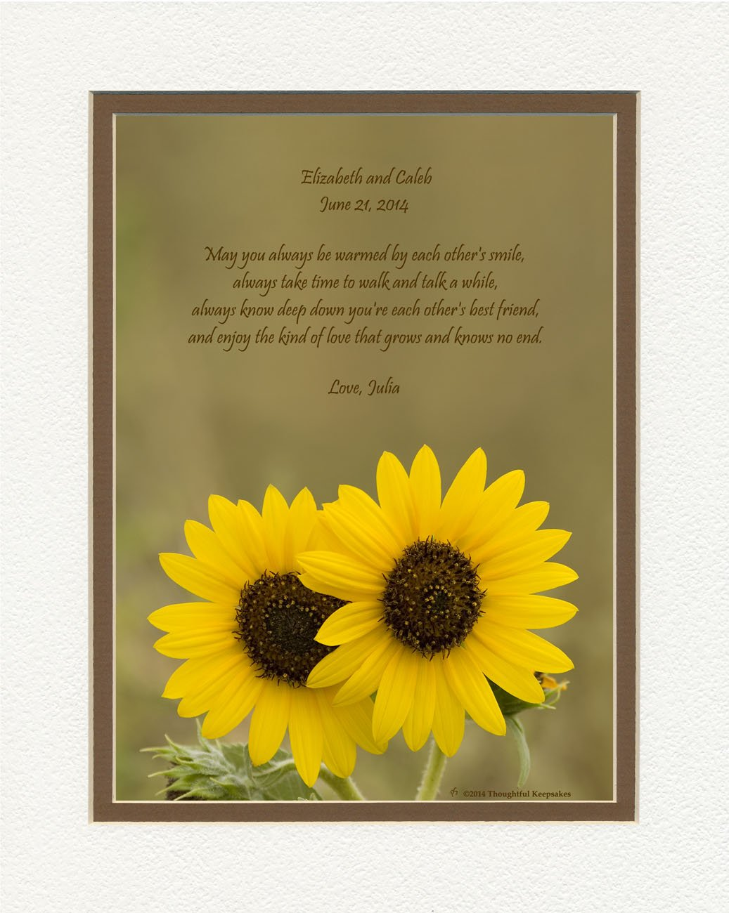 Personalized Wedding Gift for Couple or Personalized Anniversary Gift for Couple. Sunflowers Photo with Special Poem, 8x10 Double Matted