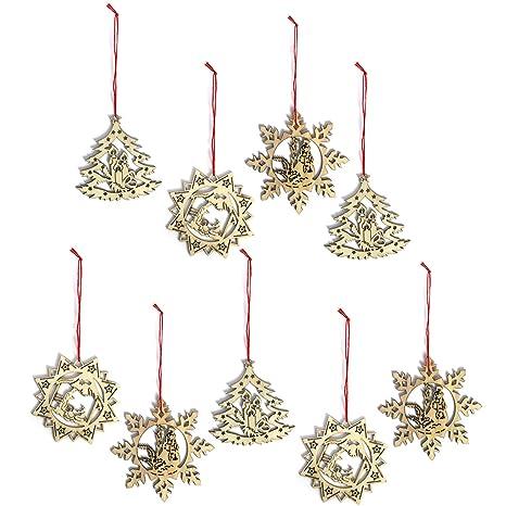 Decorazioni Di Natale Disegni.Com Four 9x Decorazioni Per Alberi Di Natale In Legno In Vari Disegni Decorazioni Per Alberi Di Natale Selezione Varia Set3 9 Pezzi